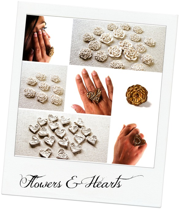 ceramic flower and heart rings with textjpg